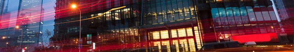 Night photo of Goldenson Center